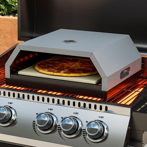 """main image of """"Pizza Oven with Ceramic Stone for Gas/Charcoal BBQ, Black"""""""