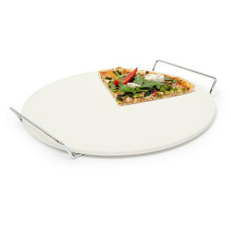 Pizzastein mit Halter, runde Steinplatte für Pizza & Flammkuchen, Grillstein aus Cordierit, 33 cm Ø, beige