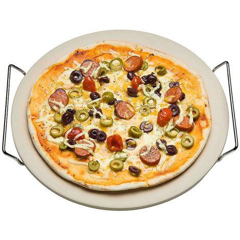 Pizzastein Platte mit 2 Griffen Ø 33 cm