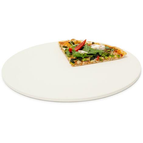 Pizzastein rund, Steinplatte für Pizza & Flammkuchen, Backstein für Ofen & Grill, Cordierit, 33 cm Ø, beige
