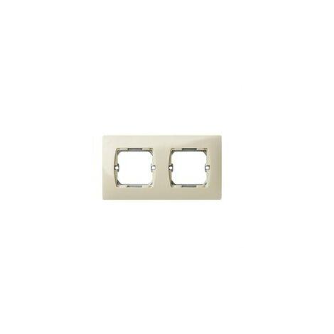 Placa 2 modulos ancho sin garra + bastidor Serie 27 marfil