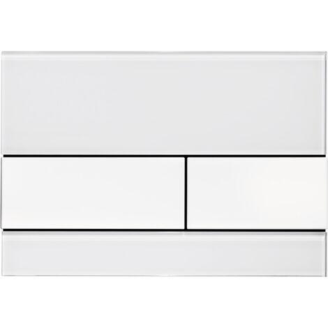 Placa de empuje del WC TECE TECEsquare cristal blanco. para la tecnología de doble descarga, color: Llaves cromadas brillo - 9240802