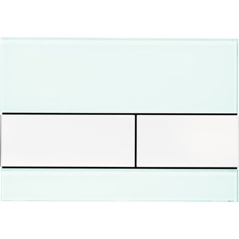 Placa de empuje del WC TECE TECEsquare vidrio verde menta, para la tecnología de doble descarga, color: Llaves de aspecto de acero inoxidable cepillado (con antihuellas) - 9240804