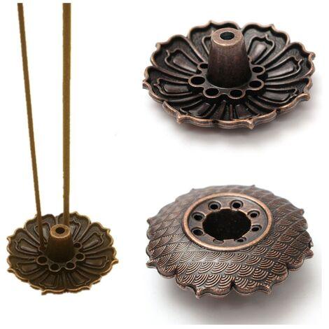 Placa de soporte para quemador de incienso de flor de loto de 9 agujeros para incienso de palo y cono