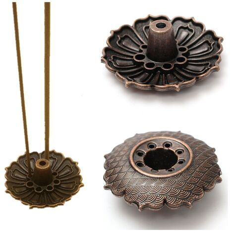 Placa de soporte para quemador de incienso de flor de loto de 9 agujeros para incienso en barra y cono LAVENTE