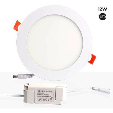 Placa downlight LED 12W empotrable circular