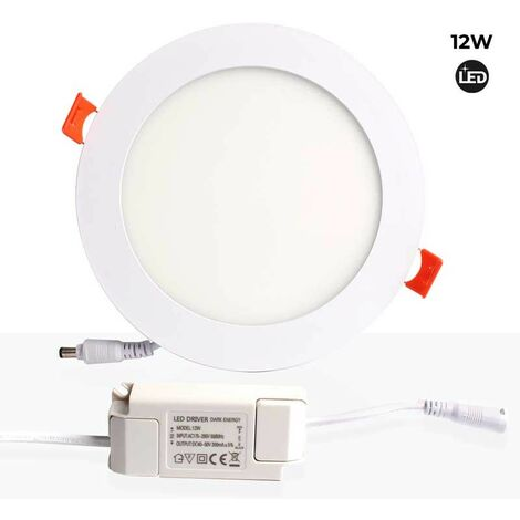 Placa downlight LED 12W empotrable circular