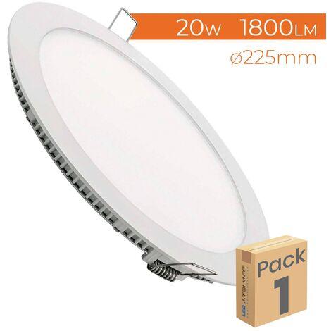 Placa Downlight LED Circular Plana 20W 1800LM Corte 205mm A++ | Pack 6 Uds. - Blanco Cálido 3000K