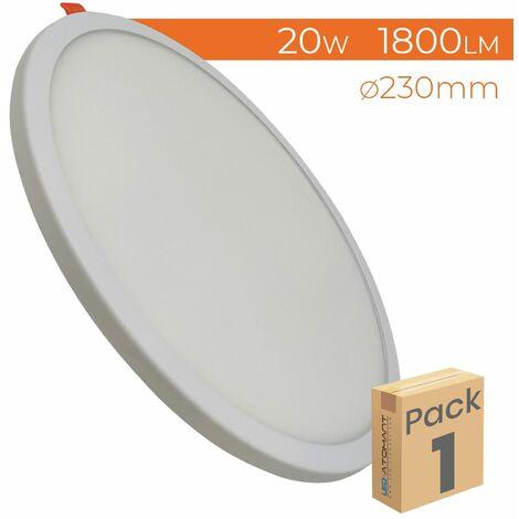 Placa Downlight LED Circular Plana 20W 1800LM Corte Ajustable 50-180mm A++ | Pack 2 Uds. - Blanco Frío 6500K