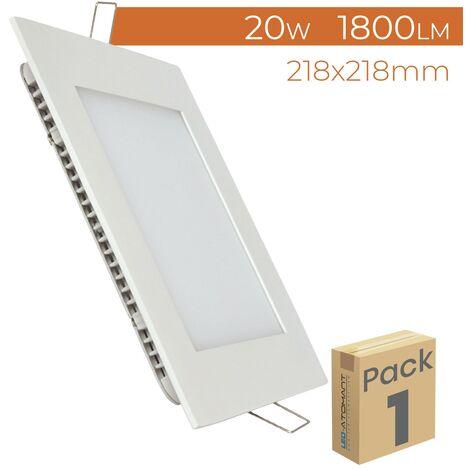 Placa Downlight LED Cuadrada Plana 20W 1800LM Corte 205mm A++ | Pack 5 Uds. - Blanco Frío 6500K