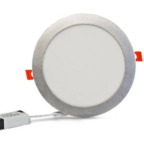 Placa downlight LED empotrable circular 18W marco plata 1440Lm