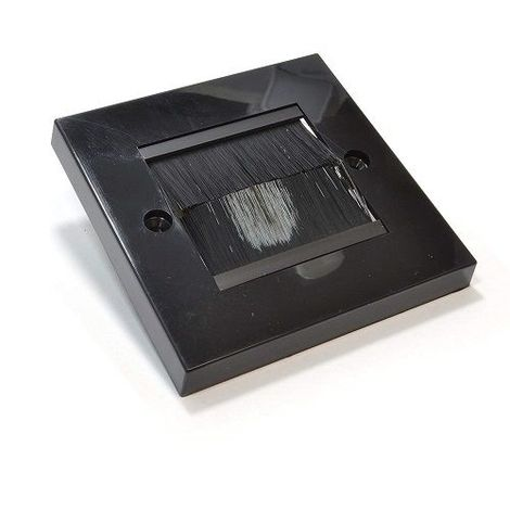 Placa frontal para salida cable pared negro enteriza Negro