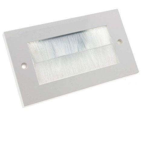 Placa frontal rectangular para salida cable pared Blanco