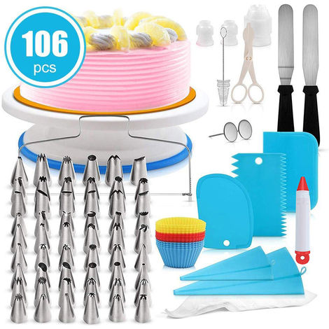 Placa giratoria para pastel, 106 piezas, herramientas de crema de bricolaje,azul