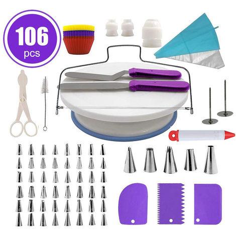 Placa giratoria para pastel, 106 piezas, herramientas de crema de bricolaje,purpura