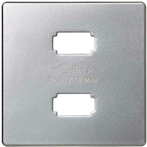 Placa para cargador USB 2 conectores 5V/DC 2.1A tipo A aluminio Simon 82 Detail