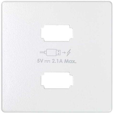 Placa para cargador USB 2 conectores 5Vdc 2.1A tipo A blanco Simon 82