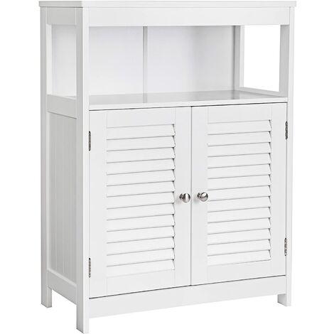 Placard armoire meuble salle de bain 2 portes 80 cm blanc - Blanc