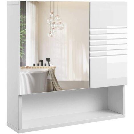 Placard mural meuble salle de bain miroir blanc - Blanc