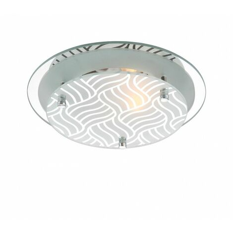 placas de techo decorativo de cristal de luz de metal cromo satinado, reflejan los estilos de interior - Globo MARIE 48160