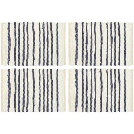 Placemats 4 pcs Blue and White 30x45 cm Cotton