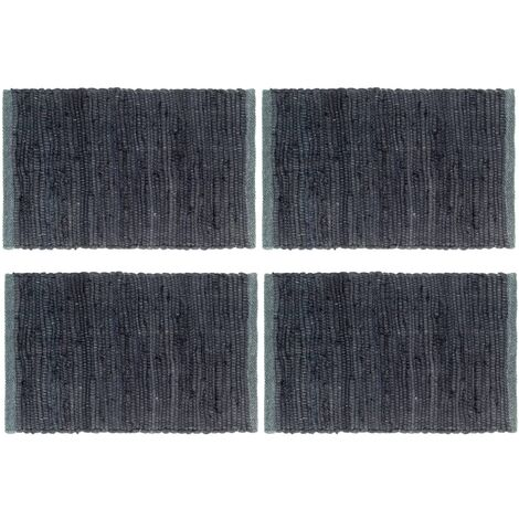 Placemats 4 pcs Chindi Plain Anthracite 30x45 cm Cotton