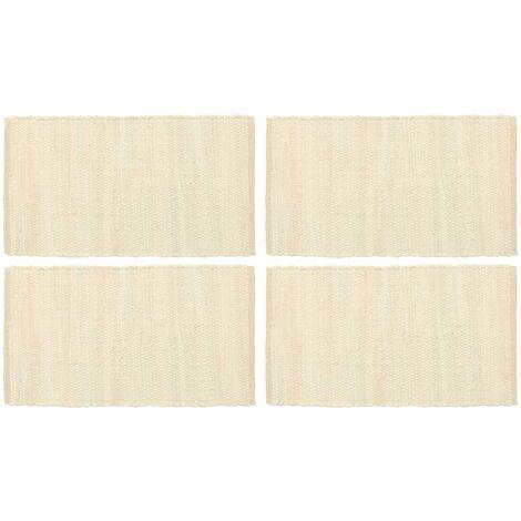 Placemats 4 pcs Chindi Plain Cream 30x45 cm Cotton