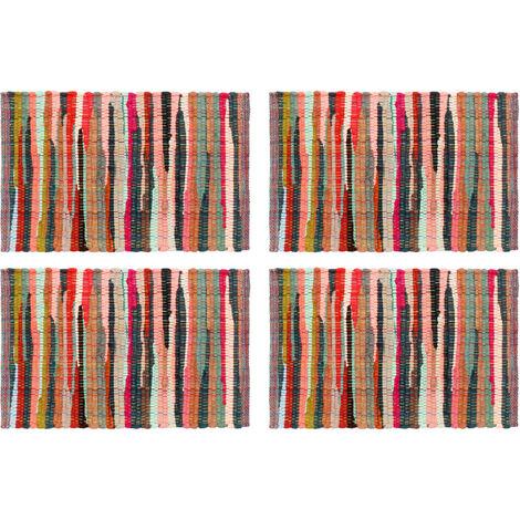 Placemats 4 pcs Chindi Plain Multicolour 30x45 cm Cotton