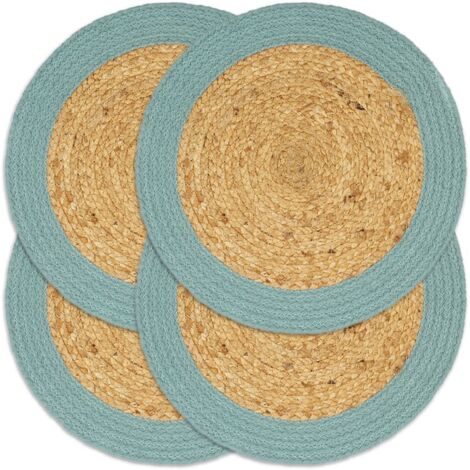 Placemats 4 pcs Natural and Green 38 cm Jute and Cotton