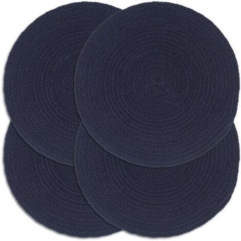 Placemats 4 pcs Plain Navy Blue 38 cm Round Cotton