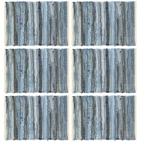 Placemats 6 pcs Chindi Denim Blue 30x45 cm Cotton