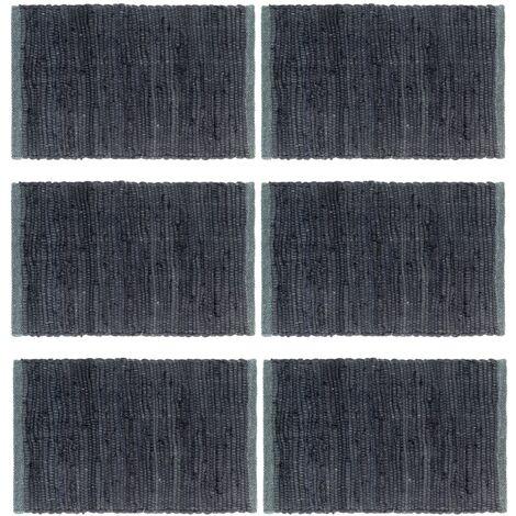 Placemats 6 pcs Chindi Plain Anthracite 30x45 cm Cotton
