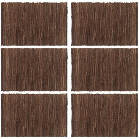 Placemats 6 pcs Chindi Plain Brown 30x45 cm Cotton
