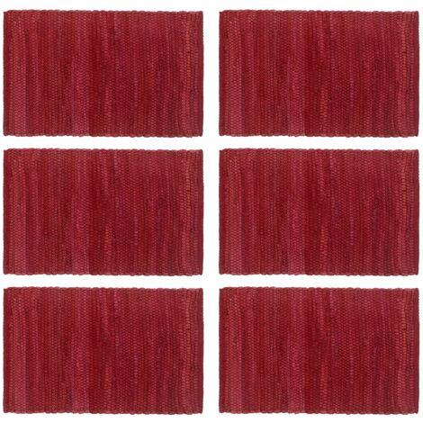 Placemats 6 pcs Chindi Plain Burgundy 30x45 cm Cotton