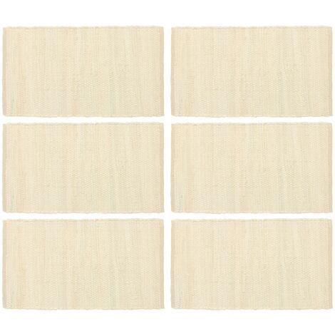 Placemats 6 pcs Chindi Plain Cream 30x45 cm Cotton