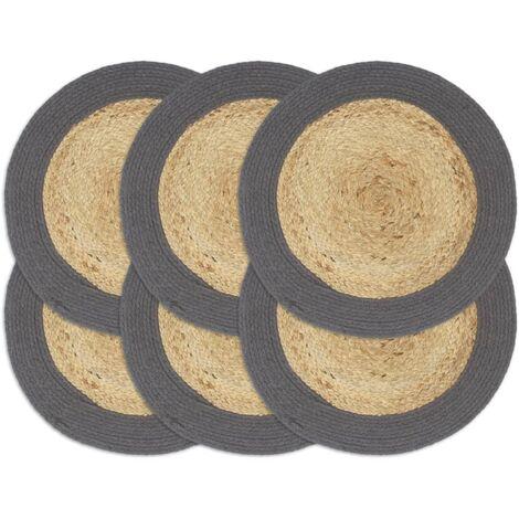 Placemats 6 pcs Plain Anthracite 38 cm Round Jute and Cotton