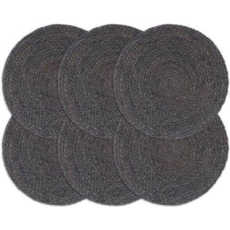 Placemats 6 pcs Plain Dark Grey 38 cm Round Jute