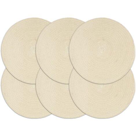 Placemats 6 pcs Plain Natural 38 cm Round Cotton