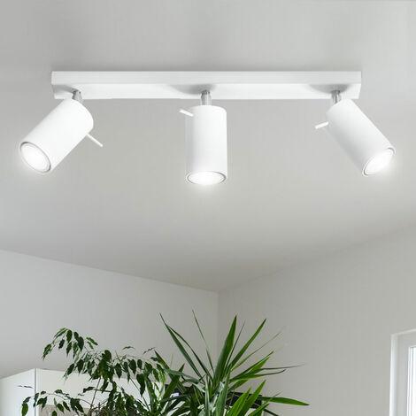 Plafón 3 llamas blanco Foco de techo 3 llamas Plafón Spots, foco orientable acero, 3x GU10, L 45 cm