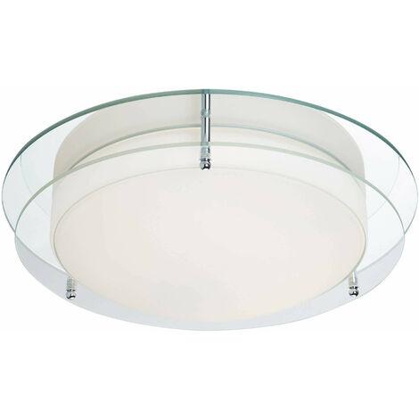 Plafón 38cm Baño, cromo, cristal transparente y opal