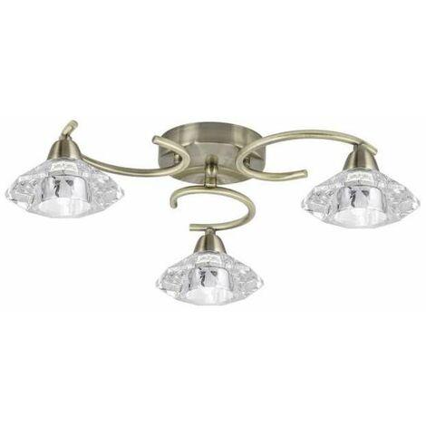 Plafón a techo 3 luces Caléndula cuero 42 cm(ancho) 13 cm(altura) 42 cm(fondo)..