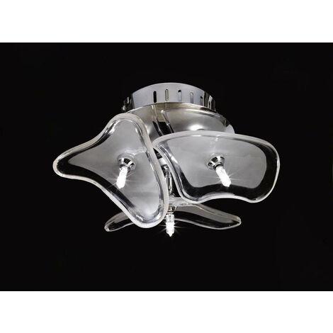Plafón / Aplique Otto 3 Bombillas G4 redondo, cromo pulido / vidrio esmerilado