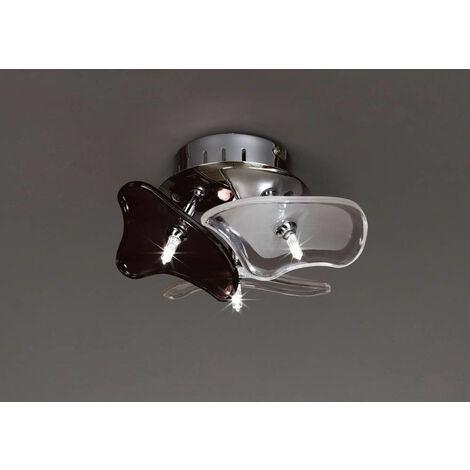 Plafón / Aplique Otto 3 Bombillas G4 redondo, cromo pulido / vidrio esmerilado / vidrio negro