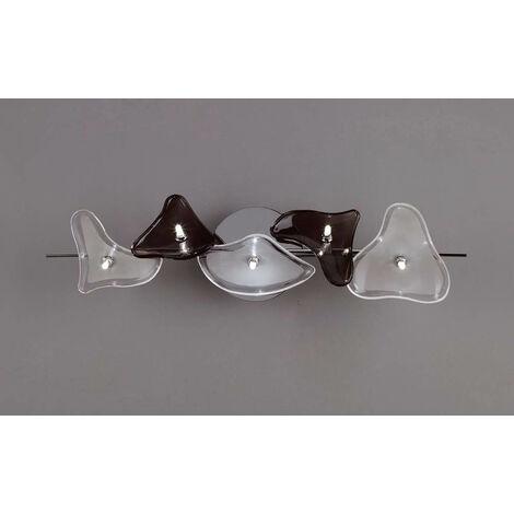 Plafón / Aplique Otto 5 Bombillas G4 Bar, cromo pulido / vidrio esmerilado / vidrio negro