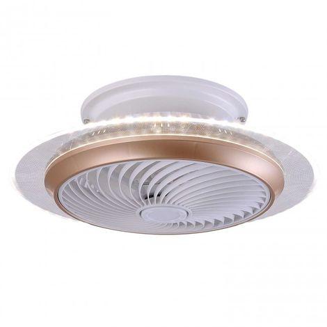 Plafón con ventilador incorporado difusor luz Led 2*36W 55 cm acabado bronce