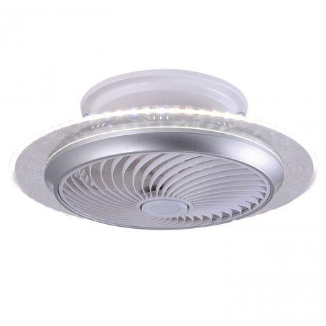 Plafón con ventilador incorporado difusor luz Led 2*36W 55 cm acabado plata