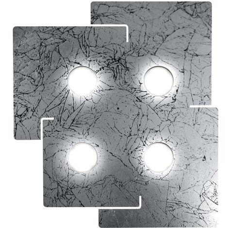 Plafón cuadrado blanco, 4 focos, pantalla plateada envejecida
