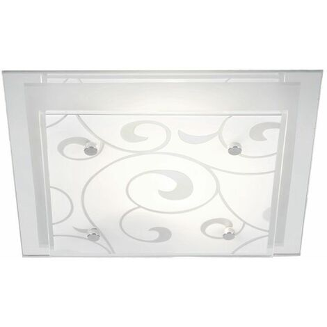 Plafón cuadrado salón comedor dormitorio lámpara cromo vidrio iluminación de diseño Globo DIA