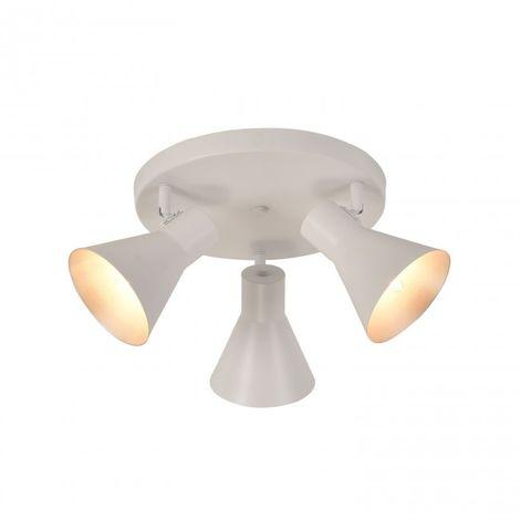 Plafón de 3 luces con casquillo E14 orientable color blanco y interior del foco plata