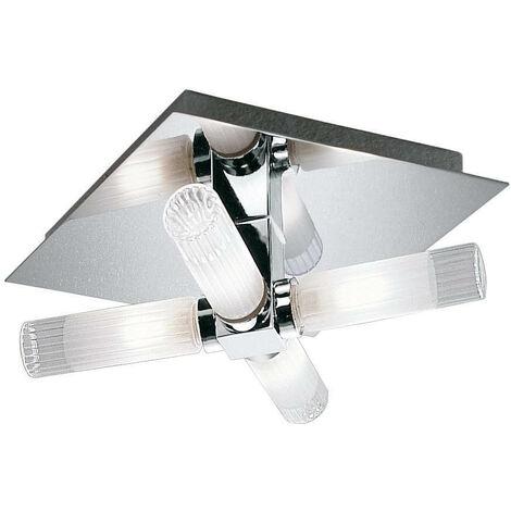Plafón de baño cromo IP44 4 bombillas
